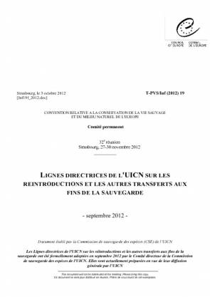 Guidelines for Reintroductions and Other Conservation Translocations – French