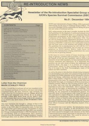 Re-introduction News December 1994
