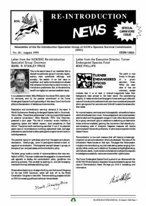 Re-introduction News August 1999