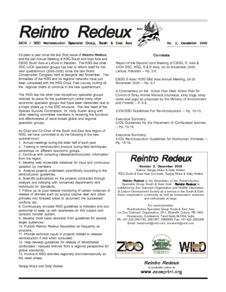 Reintro Redeux December 2005
