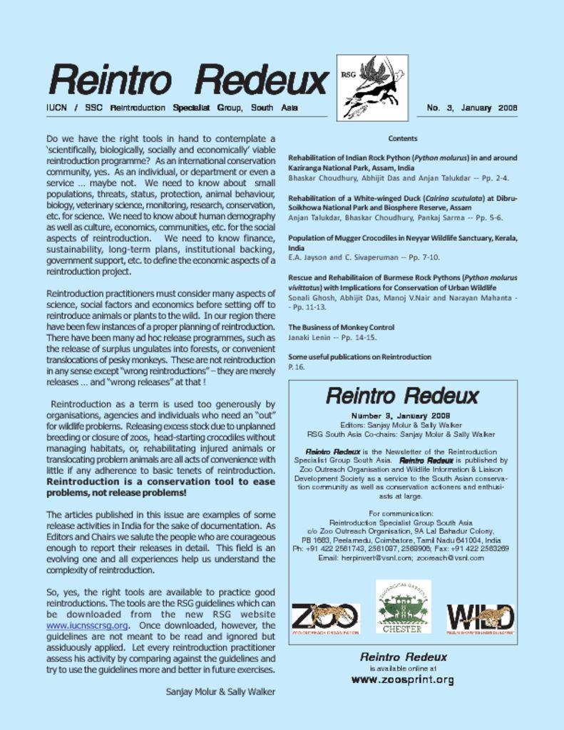 Reintro Redeux January 2008
